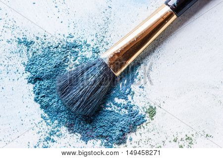 blue shadows with brush piled on white background