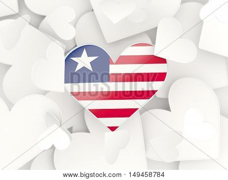Flag Of Liberia, Heart Shaped Stickers