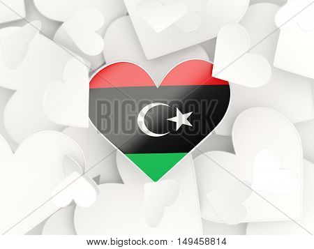 Flag Of Libya, Heart Shaped Stickers