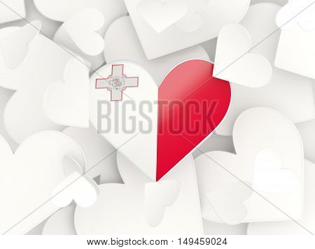 Flag Of Malta, Heart Shaped Stickers