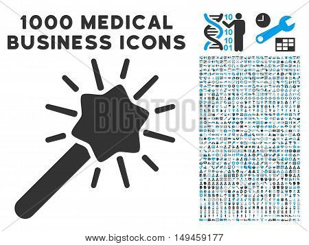 Wizard Tool icon with 1000 medical business gray and blue vector design elements. Collection style is flat bicolor symbols, white background.