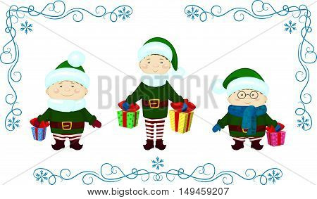vector Illustration of elfs with presents christmas