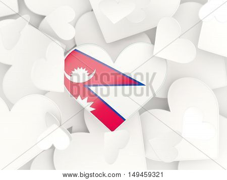Flag Of Nepal, Heart Shaped Stickers