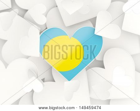 Flag Of Palau, Heart Shaped Stickers