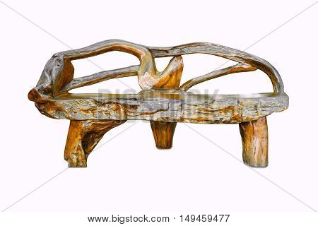 wooden chair in retro style isolated on white background with clipping path