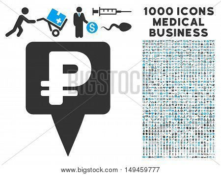 Rouble Map Pointer icon with 1000 medical business gray and blue vector design elements. Clipart style is flat bicolor symbols white background.