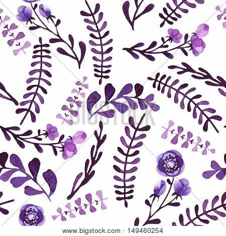 Watercolor Seamless Pattern with Dark Foliage Violet Flowers and Little Buds