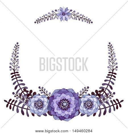 Watercolor Wreath with Black Leaves Purple Flowers and Little Berries
