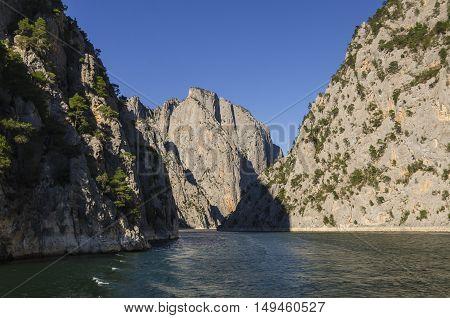 Sahinkaya Canyon is one of the most beautiful canyons in Altinkaya Dam reservoir, Samsun, Turkey.