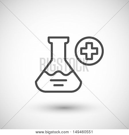 Medical flask icon isolated on grey. Vector illustration