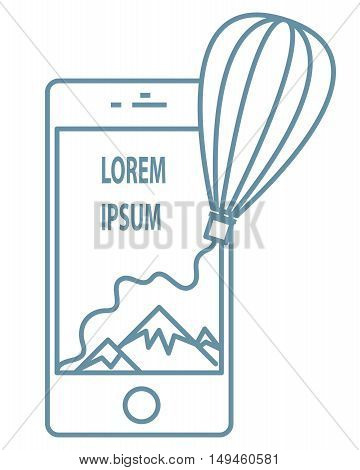 Line Air balloon flying out screen smartphone