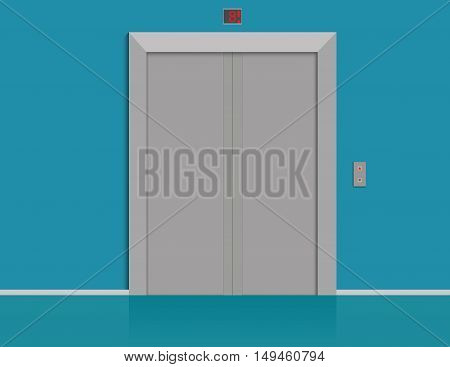Modern Elevator With Closed Doors. Concept Business Illustration. Vector Flat