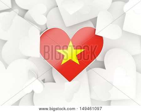 Flag Of Vietnam, Heart Shaped Stickers