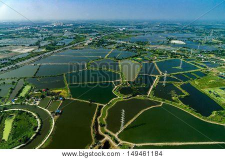 Farmland rice fields under the water in Thailand Aerial photo