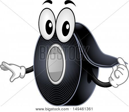Mascot Illustration of a Black Electrical Tape Peeling a Roll of Itself