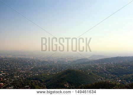 Panoramic bird's eye view of Budapest capital city of Hungary Europe - with lots of copy space.