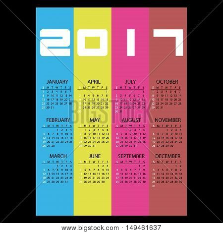 2017 Simple Business Wall Calendar With Vertical Color Stripes Eps10
