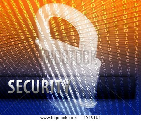 Online computer security illustration with locked padlock