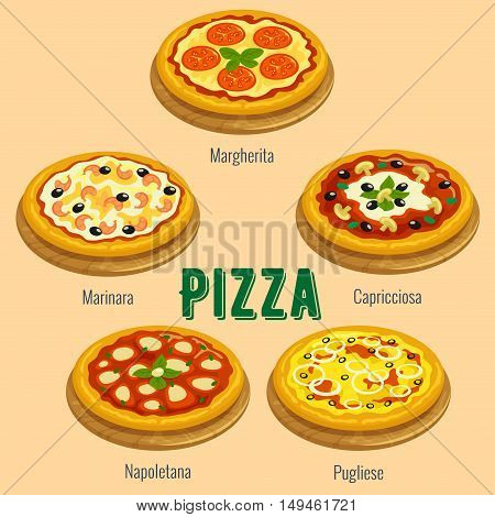 Pizza sorts. Italian cuisine menu card. Vector icons of pizza types Margherita, Marinara, Capricciosa, Napoletana, Pugliese for restaurant, pizzeria banner, placard
