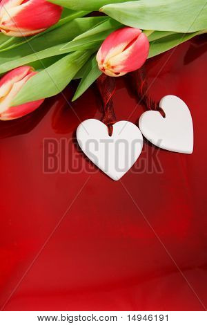 Two Hearts And Tulips