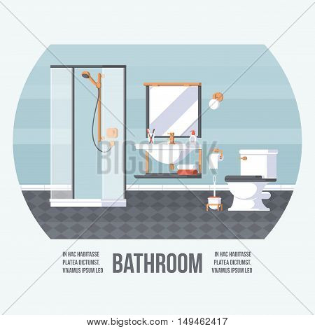 Bathroom with Shower Sink and Toilet. Vintage Retro Style with Flat Elements. Modern Trendy Design. Vector Illustration.