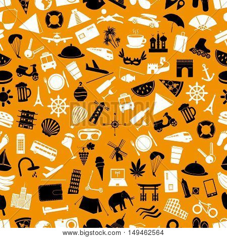 Travel And Holiday Big Set Of Vector Color Icons Seamless Pattern Eps10