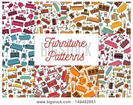 Furniture room interior elements seamless pattern. Vector pattern of retro and classic home accessories sofa, chair, armchair, lamp, wardrobe, picture, bookshelf, vase, locker, flower lamp