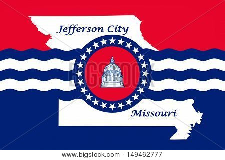Flag of Jefferson City is the capital of Missouri statei United States