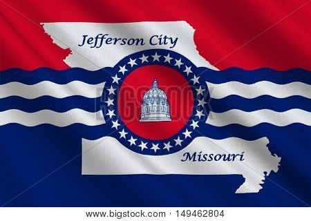 Flag of Jefferson City is the capital of Missouri statei United States. 3D illustration