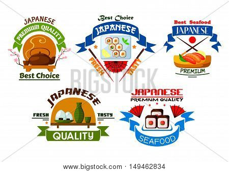 Japanese food restaurant emblems. Sushi rolls, salmon sashimi, steamed rice, seafood, wasabi, bamboo chopsticks, tea, soy sauce. Oriental cuisine label for menu card, signboard