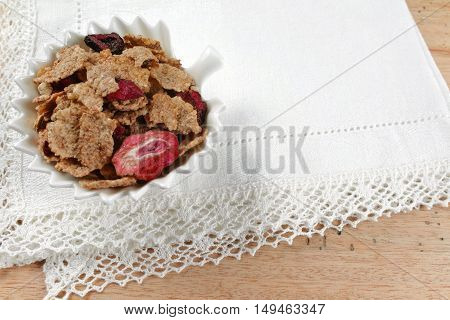 Delicious mix granola muesli cereal with fruits and nuts healthy eating concept