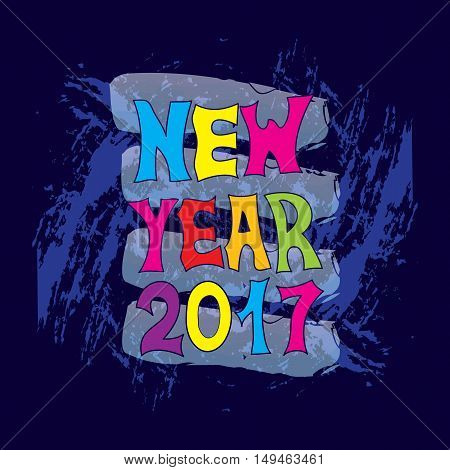 New Year. Festive banner or poster with a hand written with colorful letters the phrase new year. Vector illustration. 2017.
