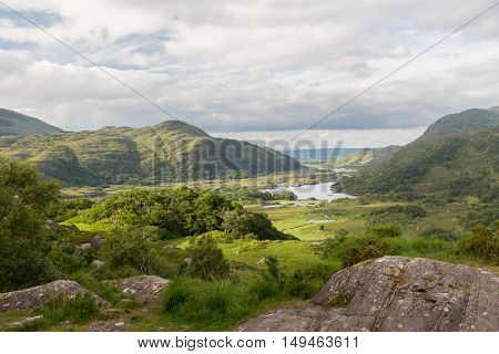 nature and landscape concept - view to river valley at Killarney National Park in ireland