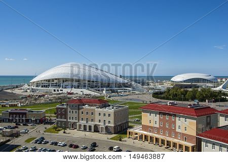 Sochi, Russia - September 24: Bolshoy Ice Dome and football stadium Fischt at the Park on September 24, 2016