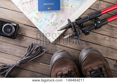 Overhead view of Traveler's accessories, Essential vacation items, Travel concept background