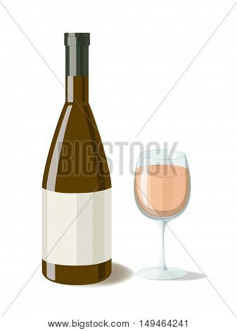 Alcohol. Bottle of pink wine with a glass of wine. Vector illustration