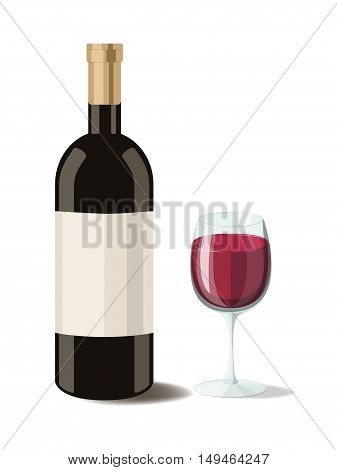 Alcohol. Bottle of red wine with a glass of wine. Vector illustration