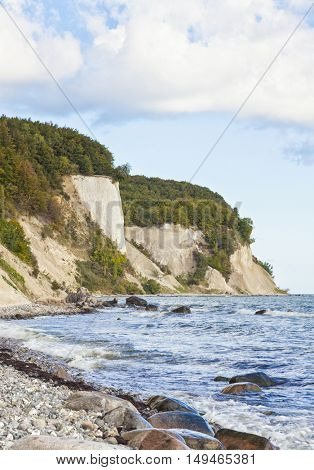 East coast of Ruegen island with its famous chalk cliffs at Jasmund National Park