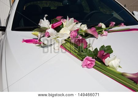 Limousine decorated with flowers - white and pink