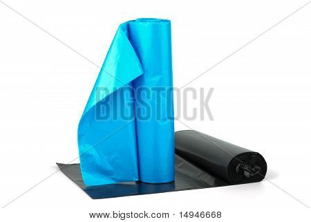 Rolls Of Blue And  Black Plastic Garbage Bags