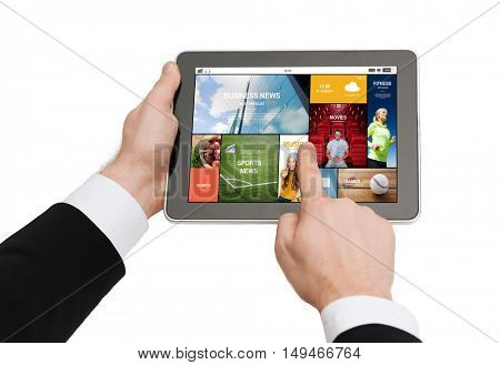 business, people and technology concept - close up of man hands holding tablet pc computer with internet news application on screen