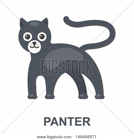 Panther icon cartoon. Singe animal icon from the big animals collection.