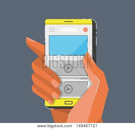 Hand holing smartphone. Cartoon style vector illustration.