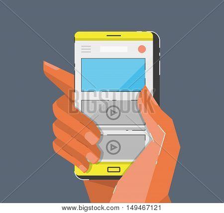 Hand holing smartphone. Cartoon style vector illustration.