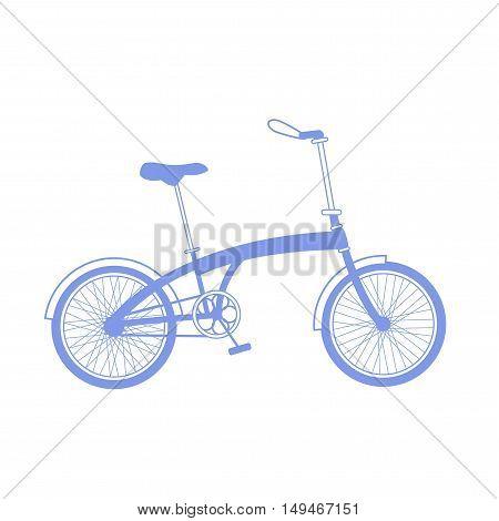 Blue foldable bicycle illustration on white background