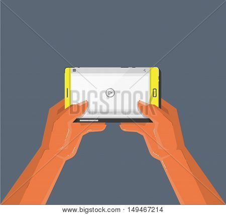 Hands holding smartphone. Video player on the screen. Cartoon style vector illustration.