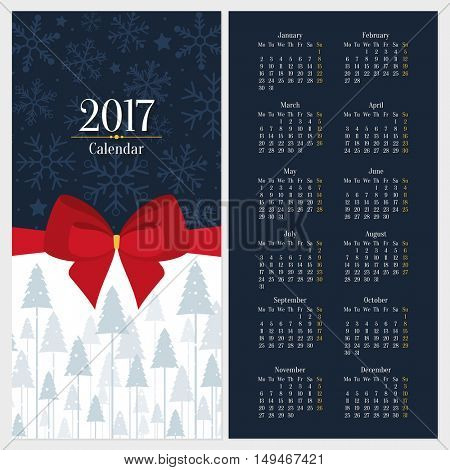 Vector 2017 calendar template with red bow and christmas tree