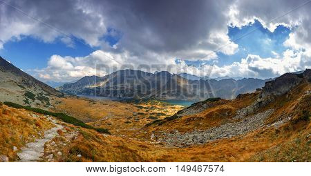 Panoramic Vie Of 5 Lakes Valley In High Tatra Mountains, Poland