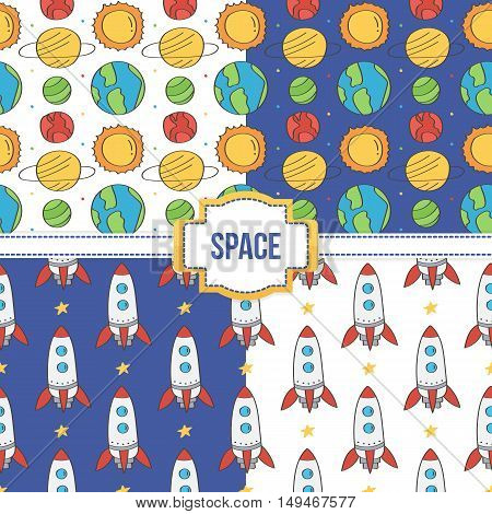 Set, collection of four seamless pattern backgrounds with space, cosmos, planets and rockets.
