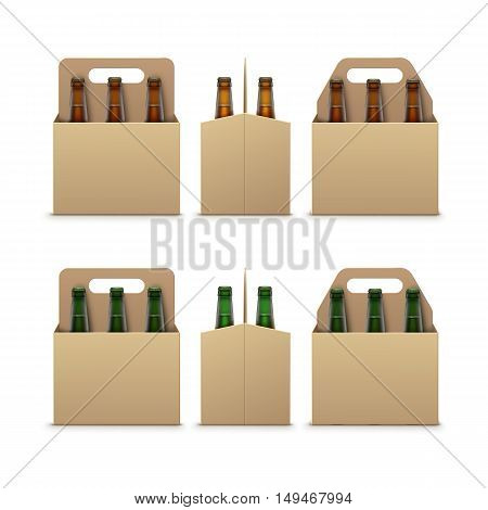 Vector Closed Blank Glass Transparent Brown Green Bottles of Light Dark Beer with Carton Packaging for Branding Front Side View Close up Isolated on White Background.